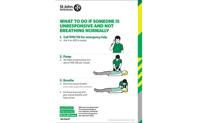 Adult CPR first aid poster