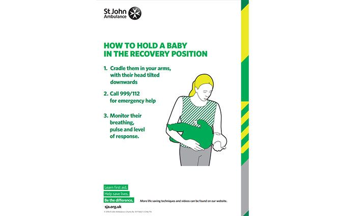 Baby recovery position first aid poster