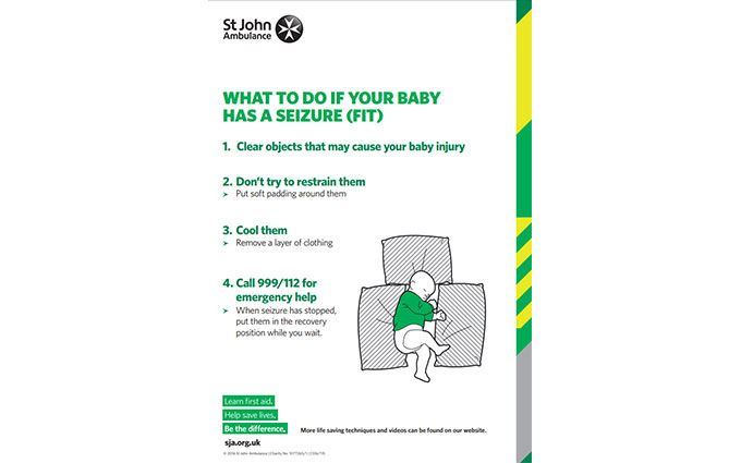 Baby seizure first aid poster