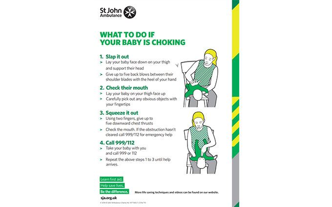 What to do if a baby is choking poster