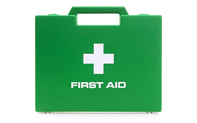 Green first aid kit