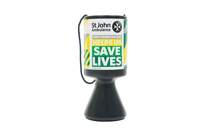 St John Ambulance fundraising collection tin