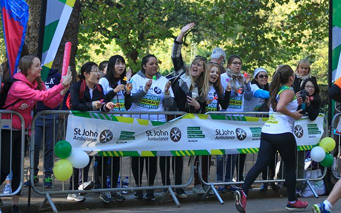 St John Ambulance cheer point at running event