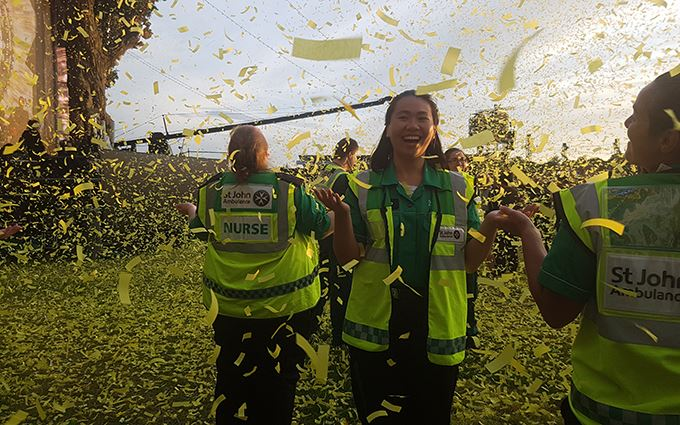 Volunteers in confetti