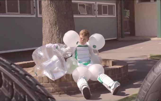 A still from the Safety Suit campaign video