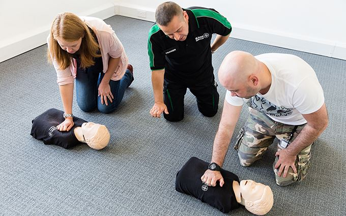 Adults learning resuscitation in a healthcare in the workplace course