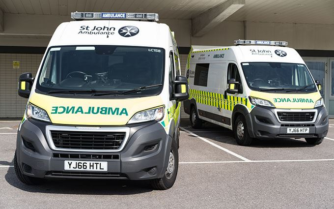 Two parked up St John Ambulance ambulances