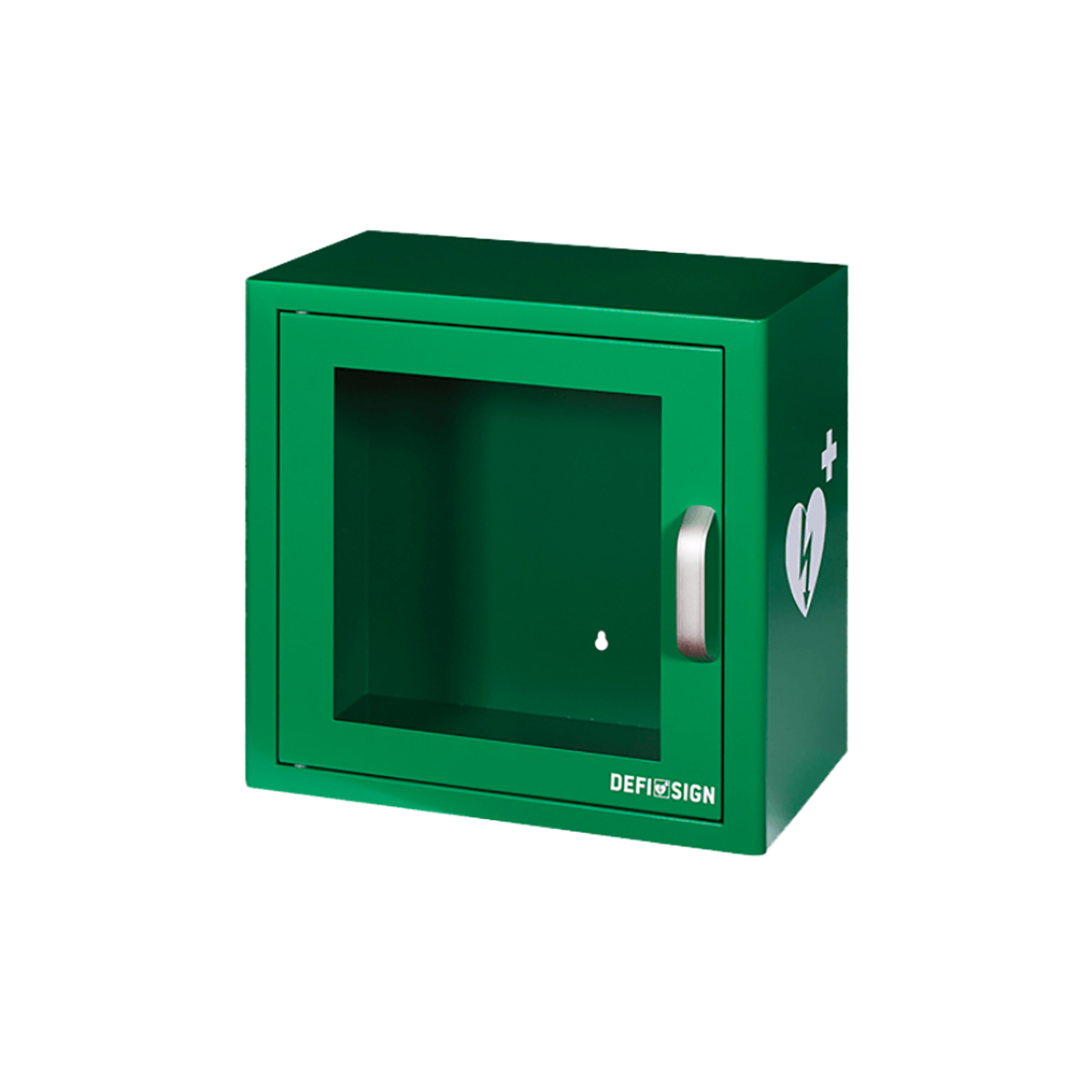 Green Indoor Defibrillator Cabinet with Alarm