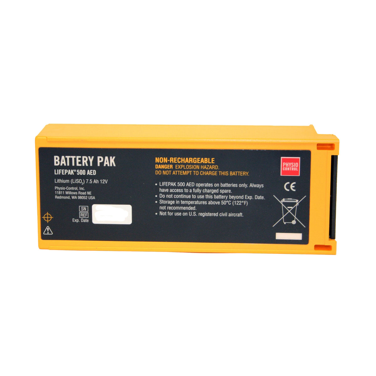 Physio-Control Lifepak® Non-Rechargeable Lithium Sulfur Dioxide Battery Pak