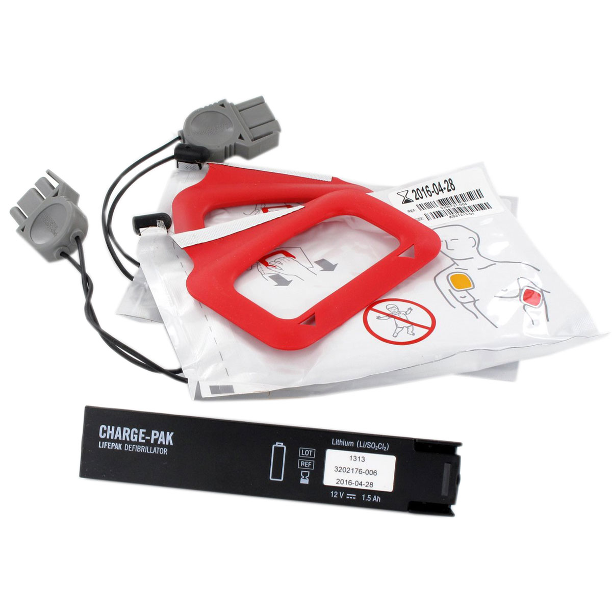Physio-Control Lifepak® Replacement Kit for Charge-Pak™ Battery Charger with Two Sets of Electrodes