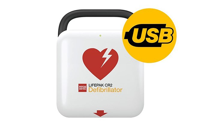 Lifepak CR2 Fully Automatic Defibrillator with Handle and USB
