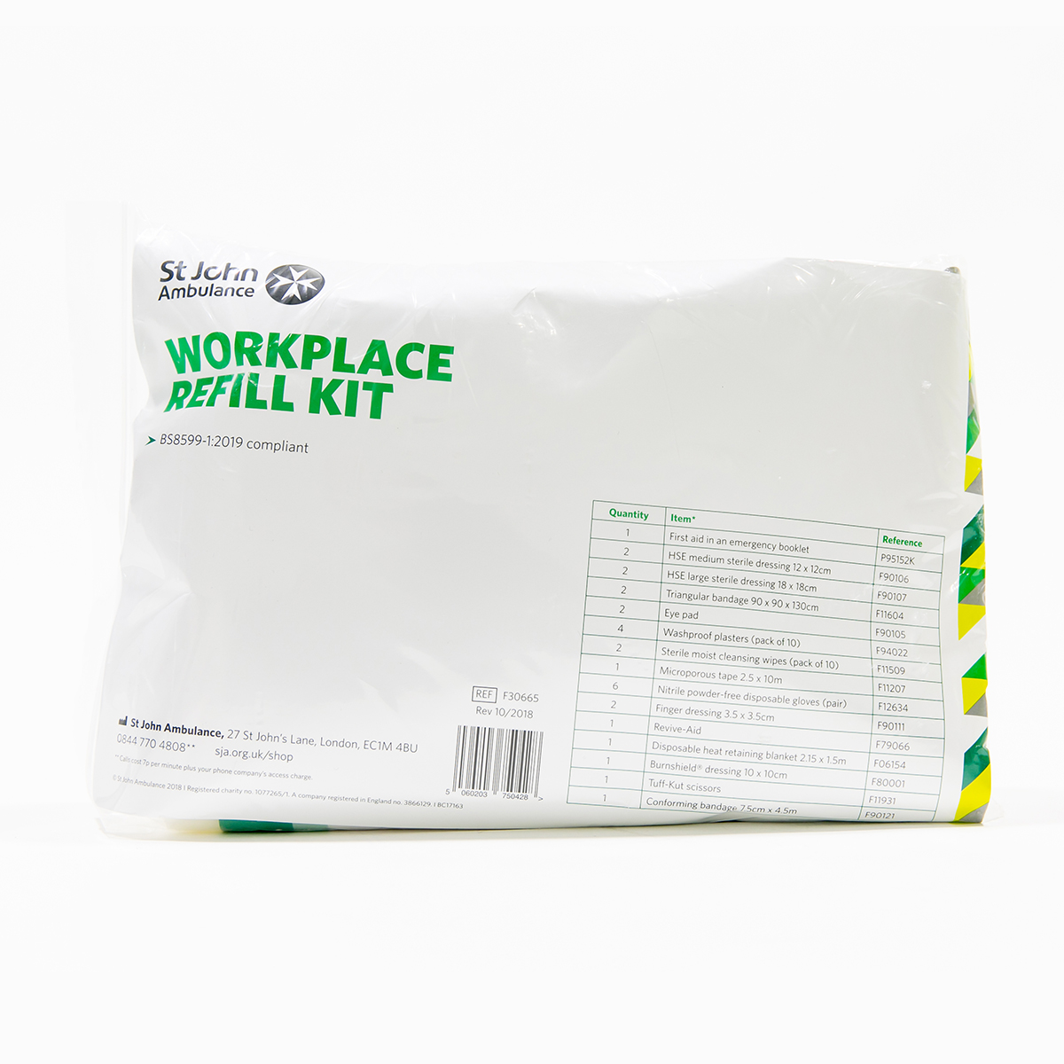 St John Ambulance Workplace Refill First Aid Kit BS 8599-1:2019