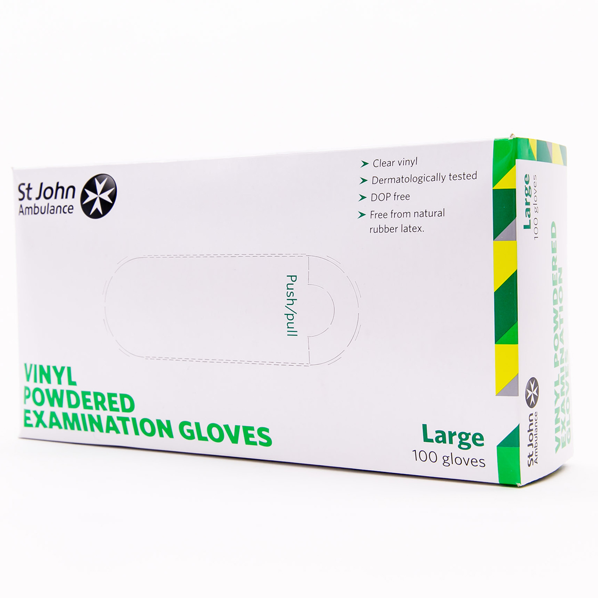 Box of 100 Large St John Ambulance Vinyl Pre-Powdered Gloves