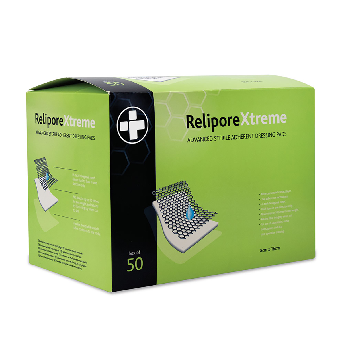 Pack of 50 8cm x 16 cm Reliporextreme Dressing Pad