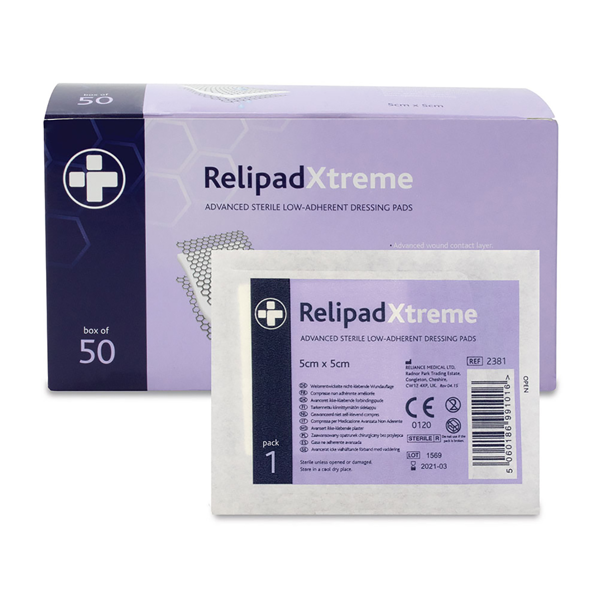 Box of 50 5cm x 5cm Relipadxtreme Non-Adherent Dressing Pads