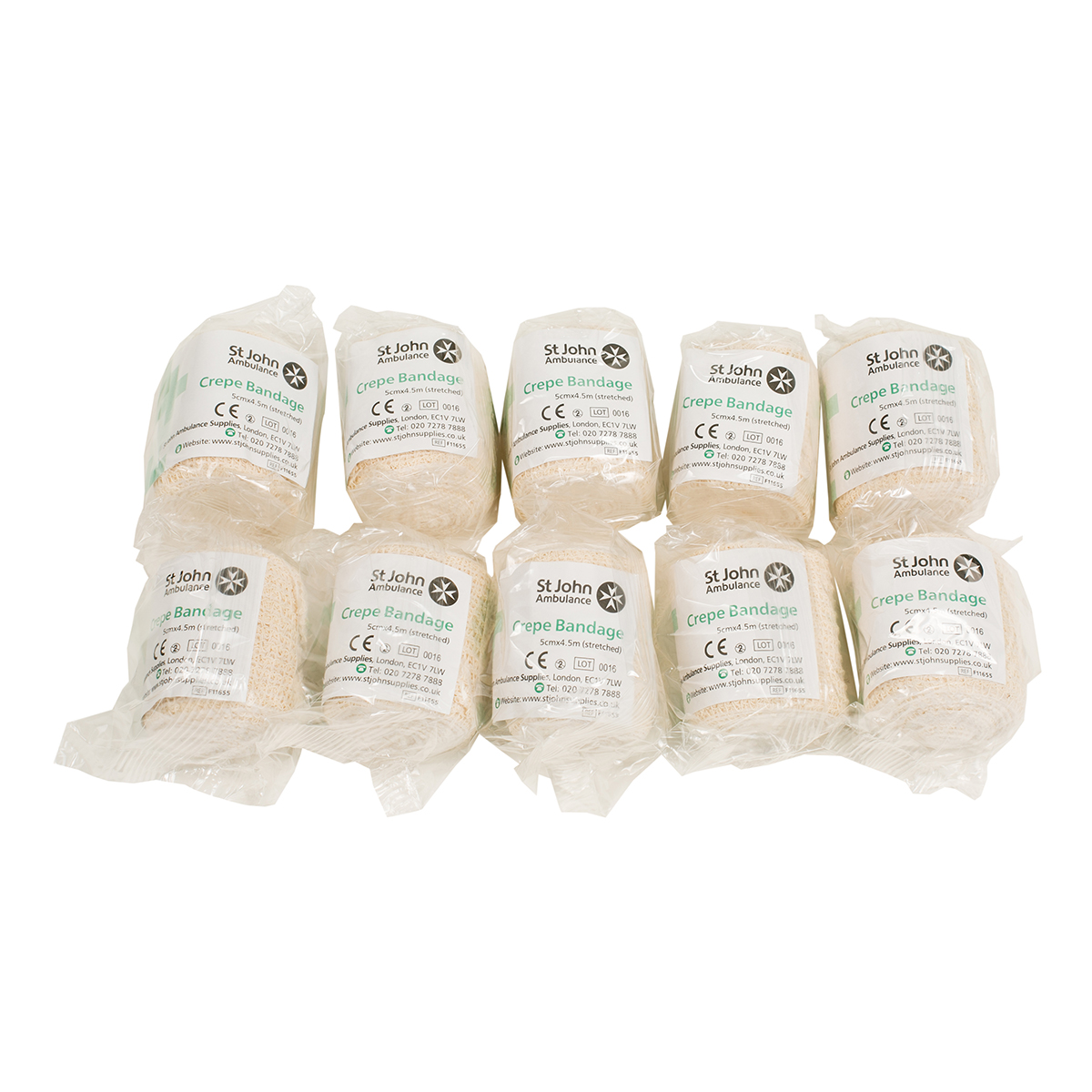 Pack of 10 5cm x 4.5m St John Ambulance Crepe Bandage