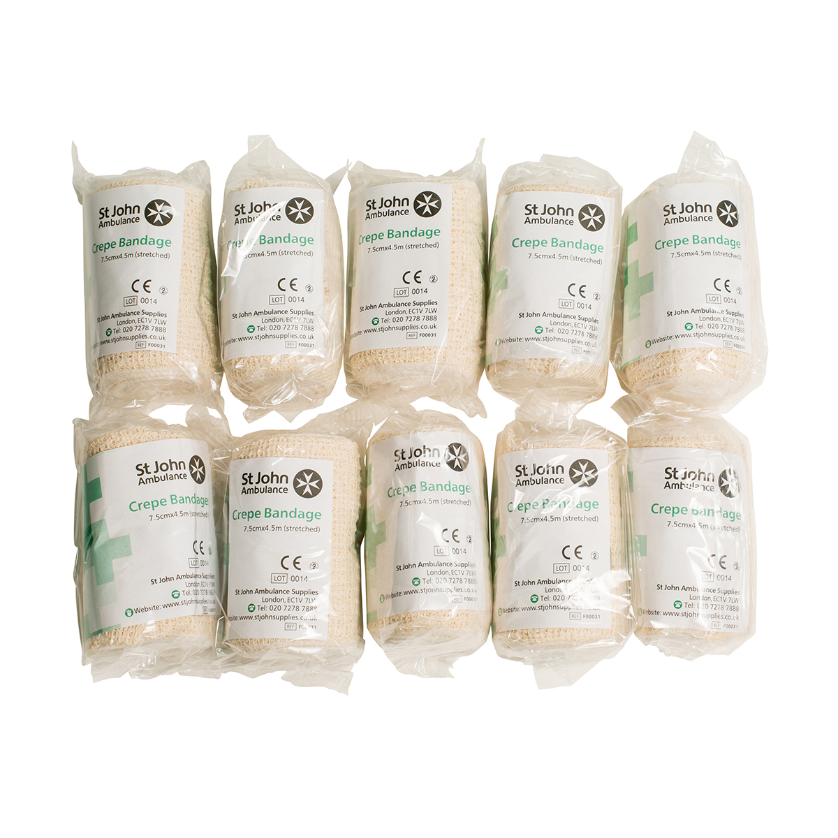 Pack of 10 7.5cm x 4.5m St John Ambulance Crepe Bandage