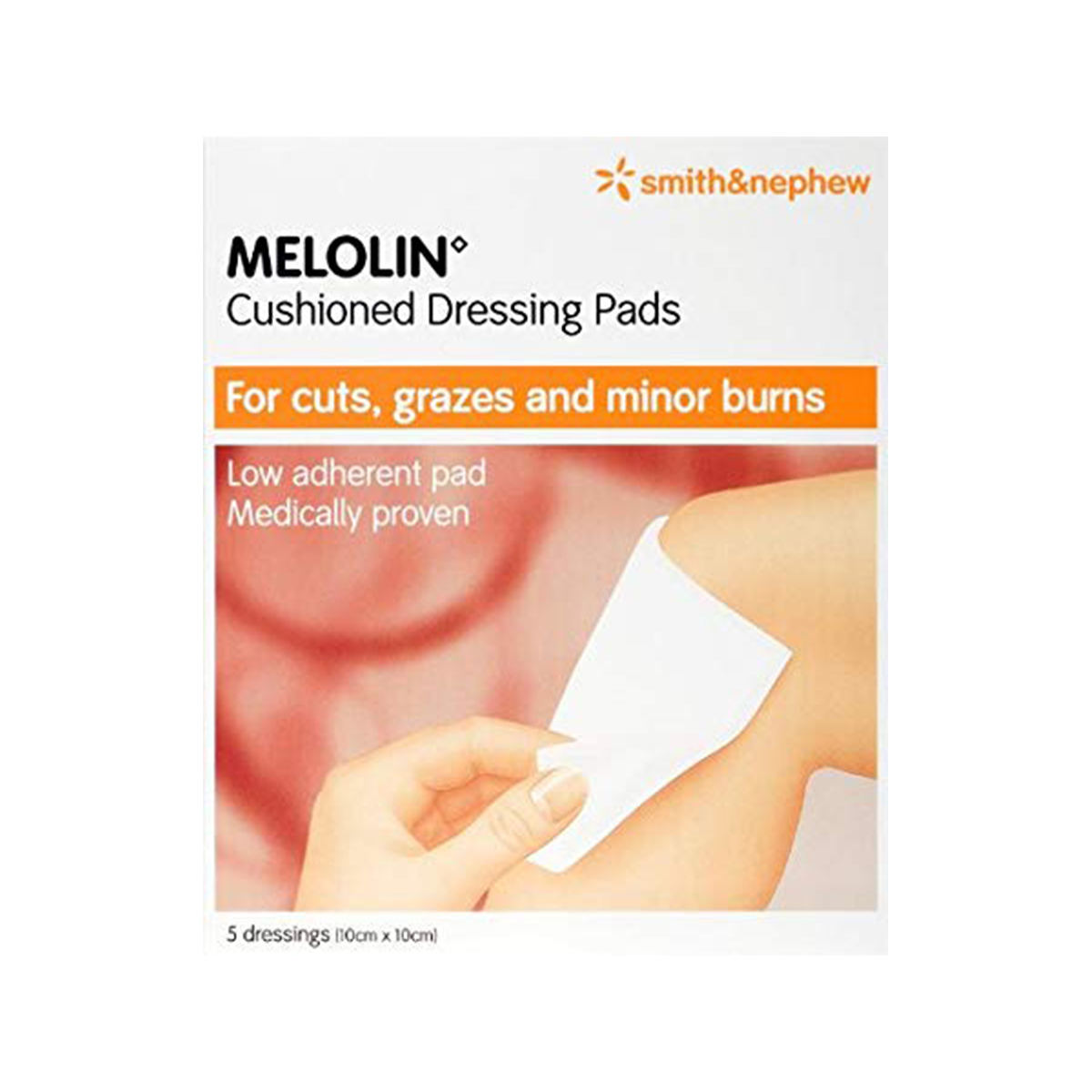 Pack of 5 10cm x 10cm Melolin Cushioned Dressing Pad