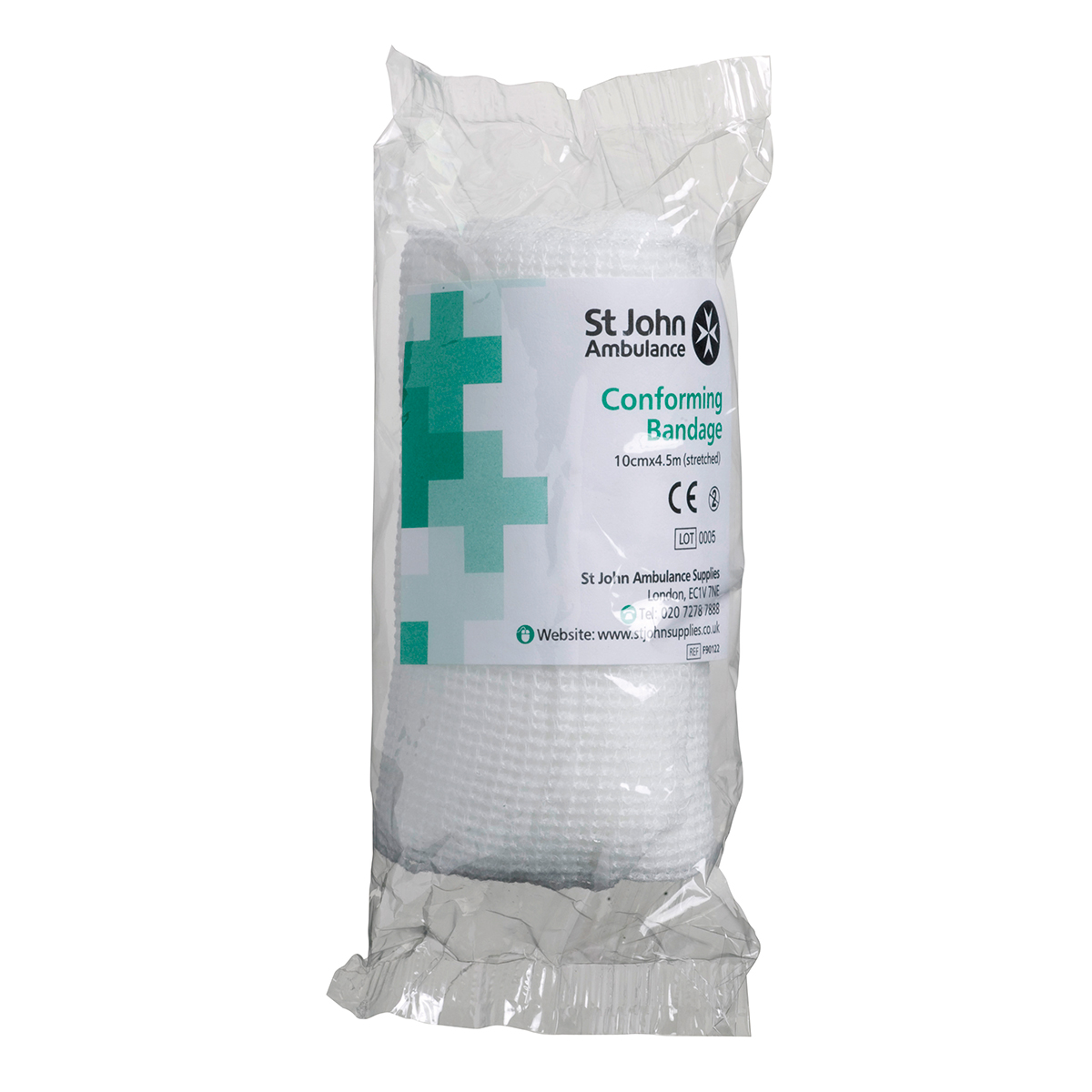 Pack of 5 10cm x 4.5m St John Ambulance Conforming Bandage