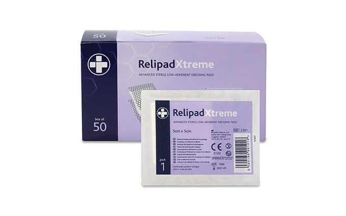 Box of 50 5cm x 5cm RelipadXtreme Low-Adherent Dressing Pads Box of 50 5cm x 5cm RelipadXtreme Low-Adherent Dressing Pads