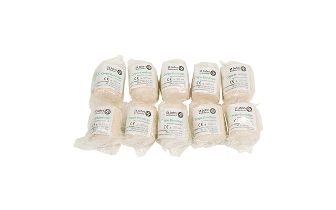 Pack of 10 5cm x 4.5m St John Ambulance Crepe Bandage Pack of 10 5cm x 4.5m St John Ambulance Crepe Bandage