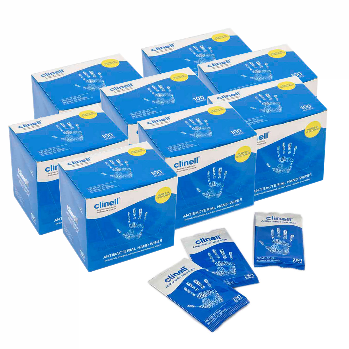 Pack of 8 Boxes of 100 Clinell Antibacterial Hand Wipes