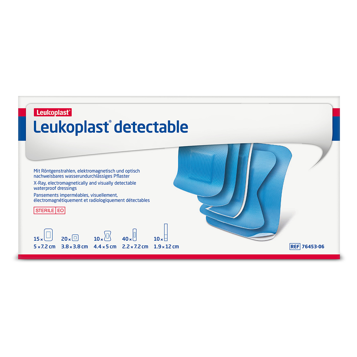 Pack of 95 Assorted Sizes Leukoplast Blue Detectable Plasters