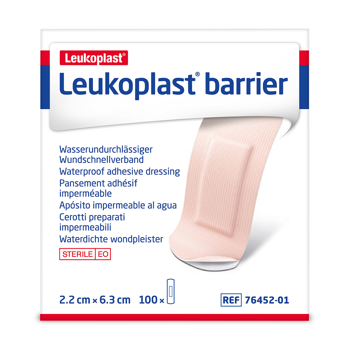 Pack of 100 3.8cm x 6.3cm Leukoplast Barrier Plasters