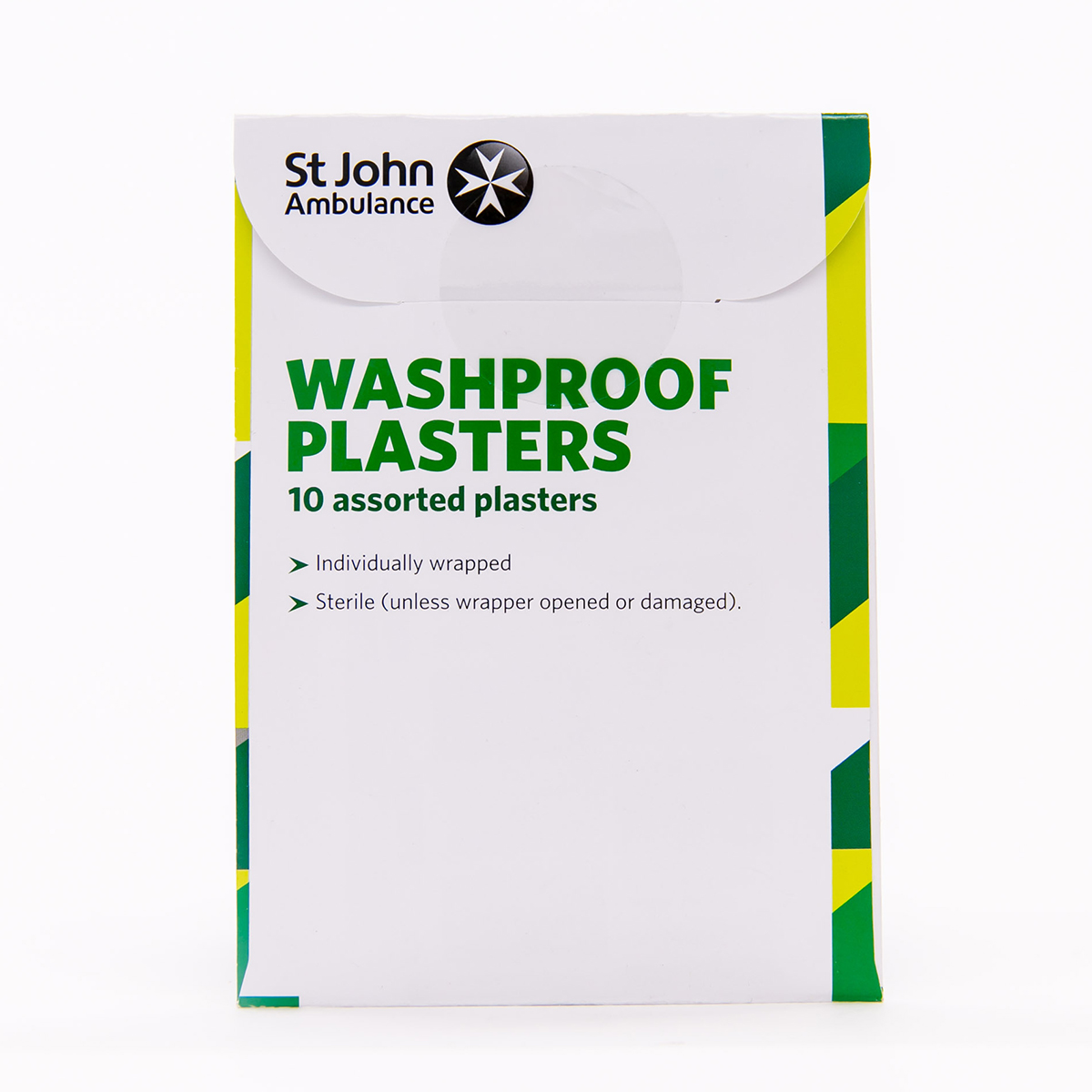 Pack of 10 Assorted sizes St John Ambulance Clear Washproof Low Allergy Plasters