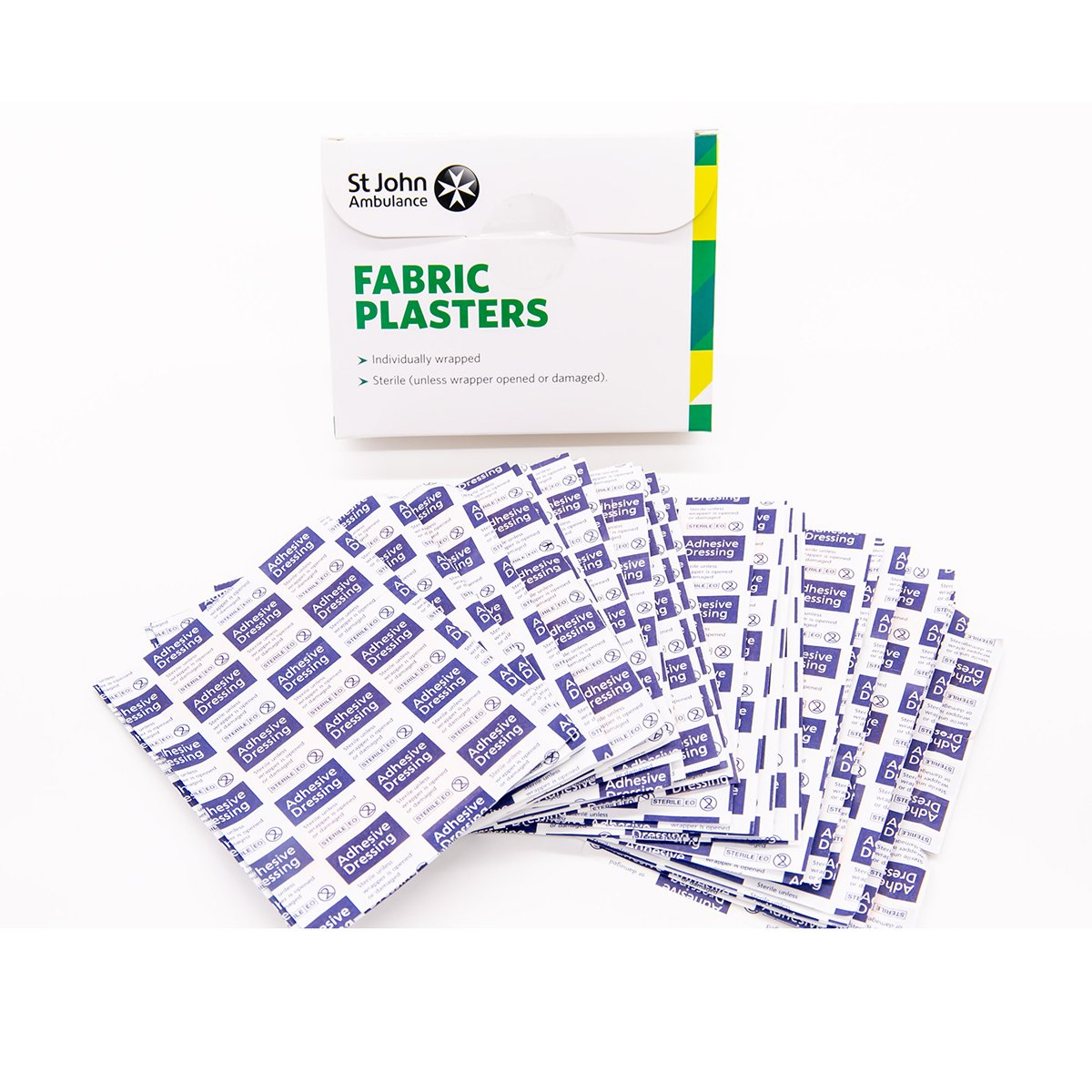 Pack of 100 7.5cm x 2.5cm St John Ambulance Fabric Plasters