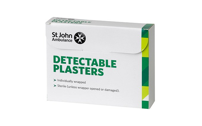 Pack of 100 Assorted Sizes Standard Blue St John Ambulance Washproof Detectable Plasters Pack of 100 Assorted Sizes Standard Blue St John Ambulance Washproof Detectable Plasters