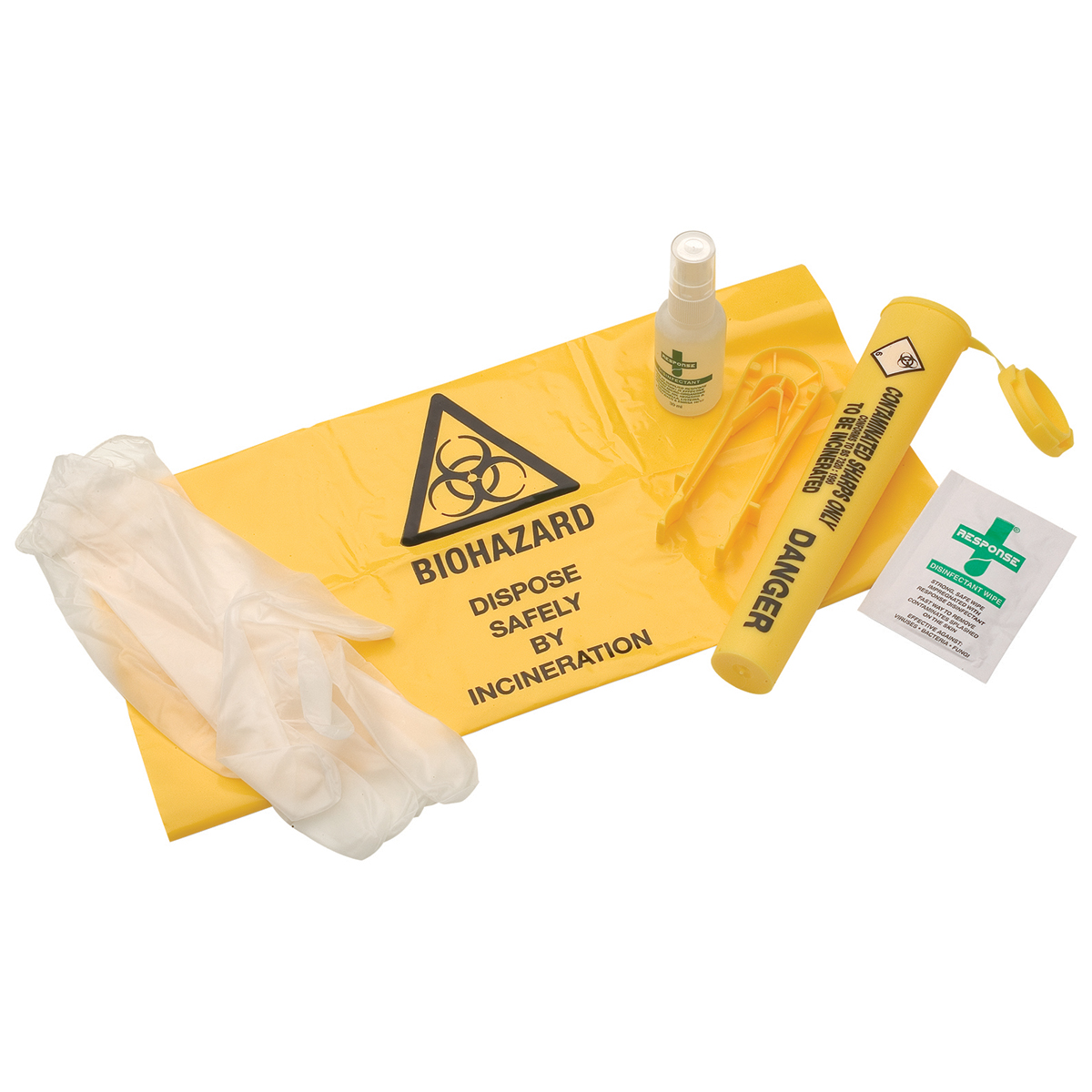 Single Use Sharps Disposal System with Spray