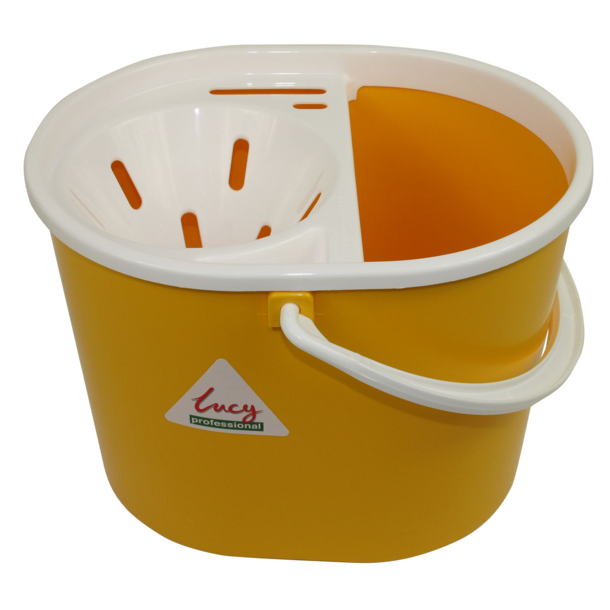 Yellow 8-litre Lucy Oval Mop Bucket with Sieve