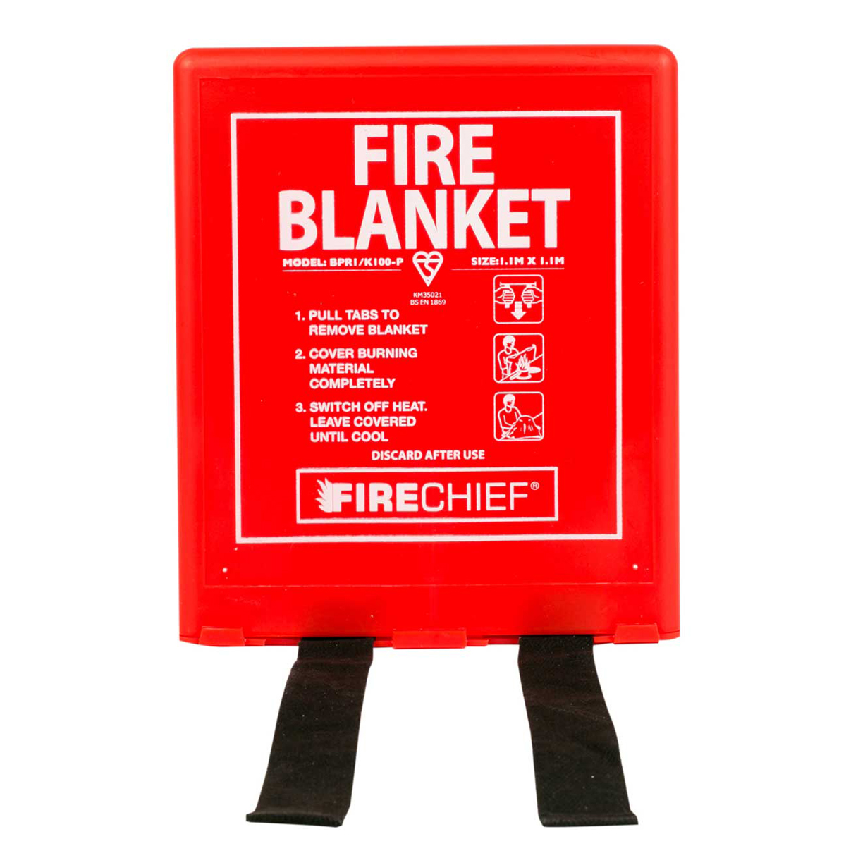 1 x 1m Fire Blanket in Rigid Case