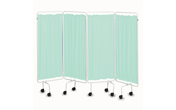 Portable Folding Screen with White Frame and Green Curtains Portable Folding Screen with White Frame and Green Curtains