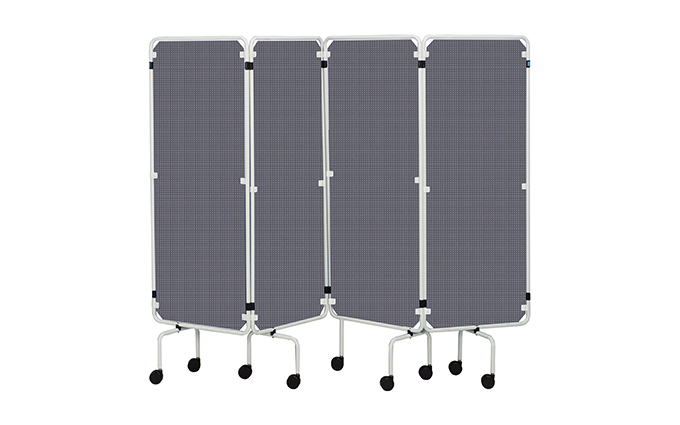 Portable Executive Panel Screen with White Frame and Grey Curtains Portable Executive Panel Screen with White Frame and Grey Curtains