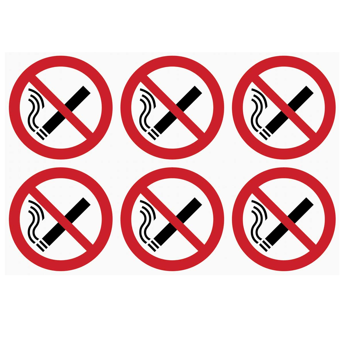 Sheet of 6 No Smoking Signs for Vehicles