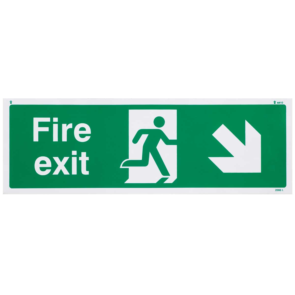Down Right British Standard Fire Exit Sign
