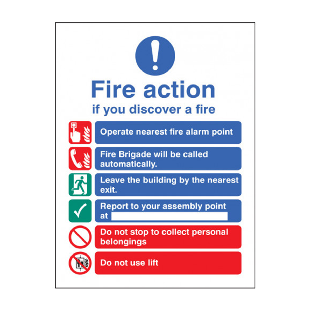 Fire Action Photoluminescent Sign