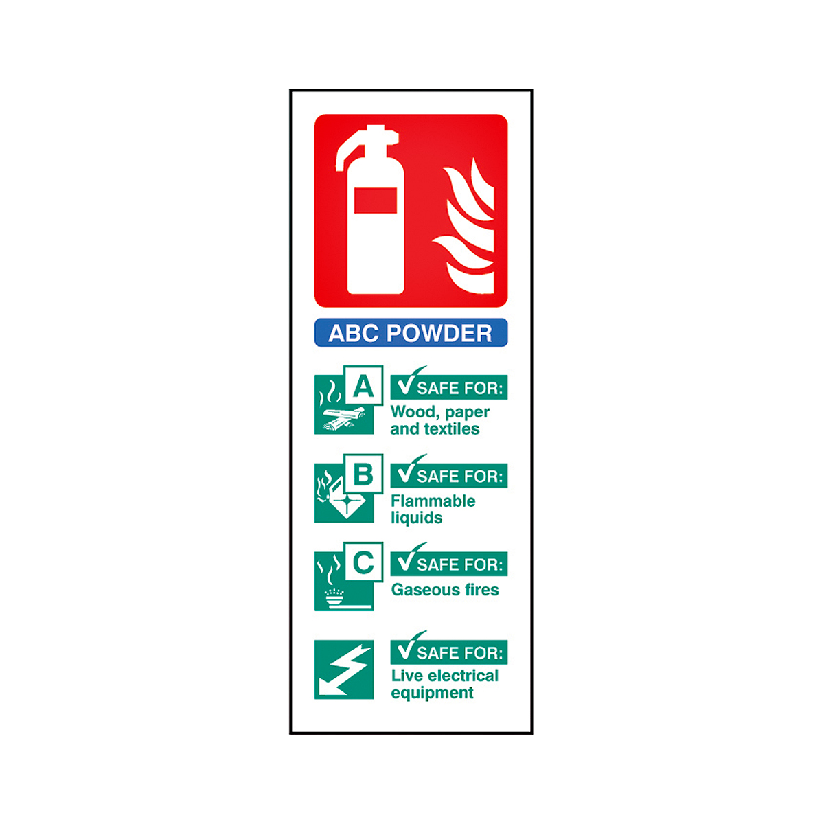 ABC Dry Powder Fire Extinguisher Sign