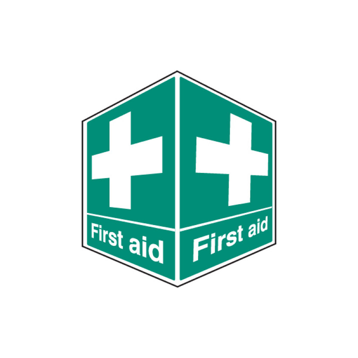 Projecting First Aid Rigid Plastic Safety Sign