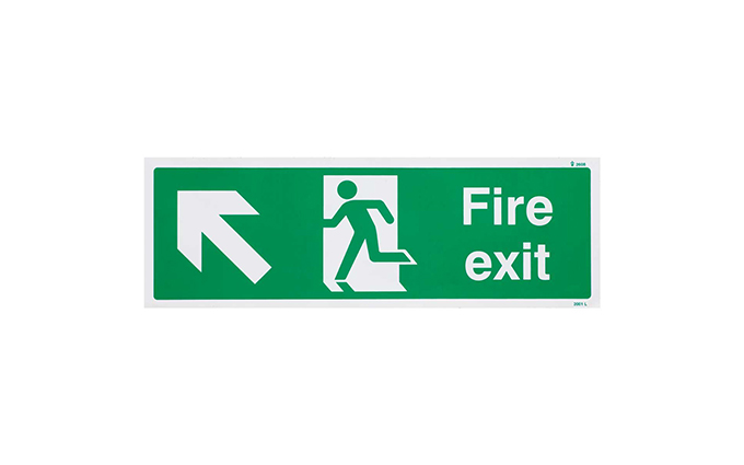 Fire Exit Left Up British Standard Vinyl Sign