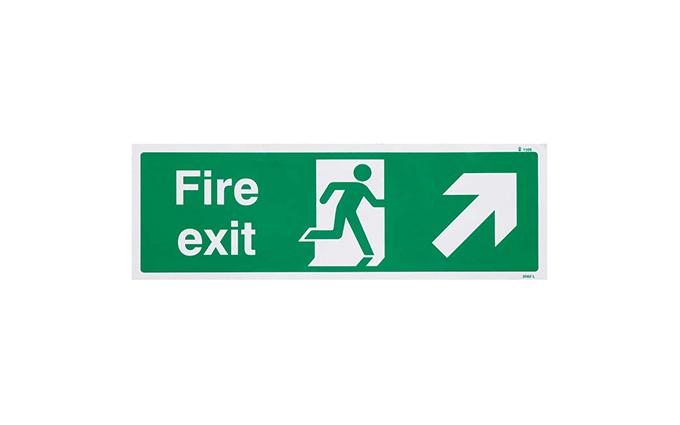 Fire Exit Right Up British Standard Vinyl Sign