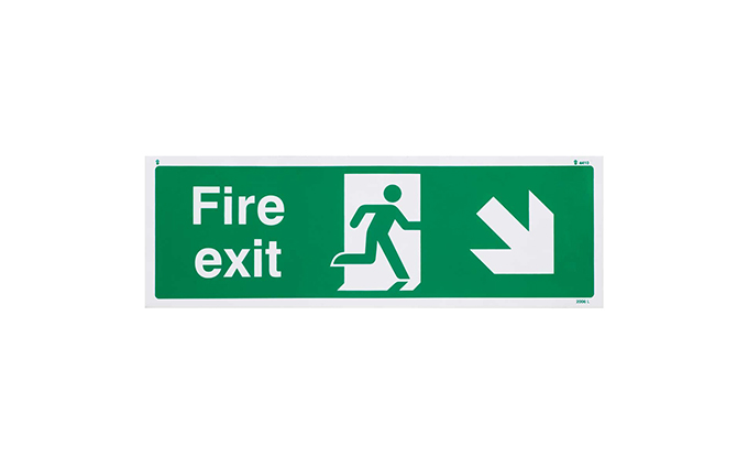 Fire Exit Right Down British Standard Vinyl Sign