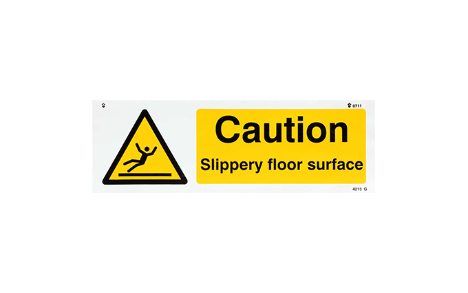 Caution Slippery Floor Vinyl Sign