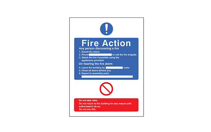 Fire Action Notice Vinyl Sign