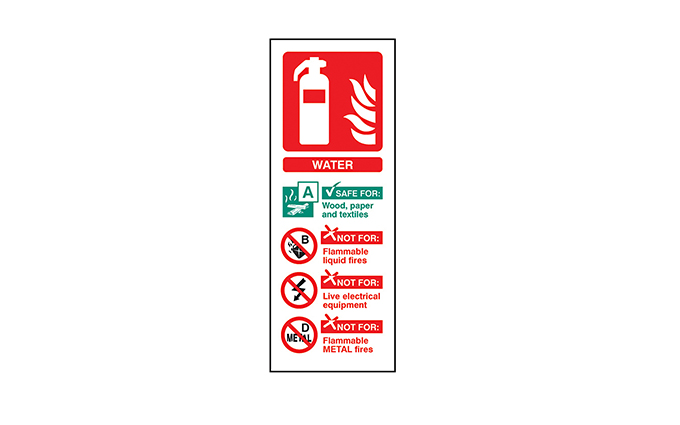 Water Fire Extinguisher Vinyl Sign