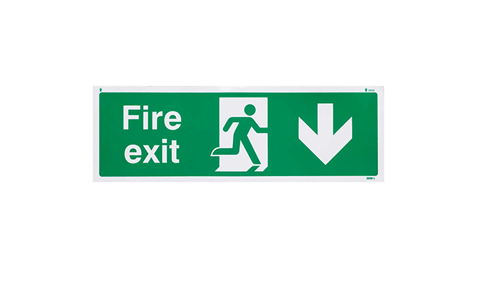 Fire Exit Down British Standard Vinyl Sign