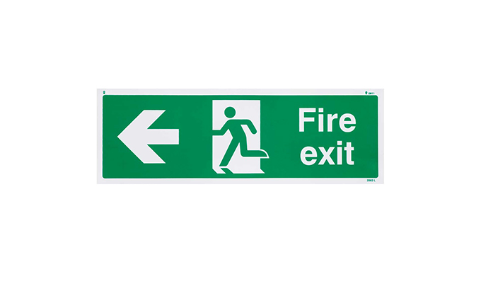 Fire Exit Left British Standard Vinyl Sign