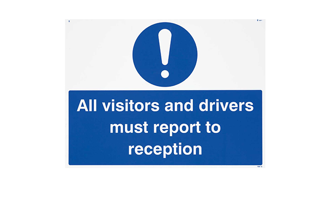 All Visitors Must Report To Reception Vinyl Sign